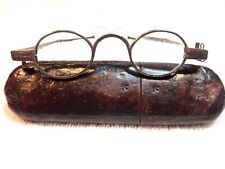 1750's GERMAN (?) IRON EYEGLASSES BY IN A PRESSED PAPER CASE!  AUTHENTIC!