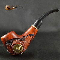 """HAND CARVED EXCLUSIVE WOODEN  TOBACCO SMOKING PIPE PEAR   """" Viking """"   + BOX"""