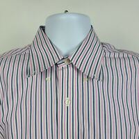 Brooks Brothers Regent Non Iron Blue Pink Striped Mens Dress Shirt 15.5 - 34