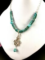 BARSE 925 STERLING GREEN & BLUE TURQUOISE  BEAD NECKLACE SCROLL DANGLE PENDANT