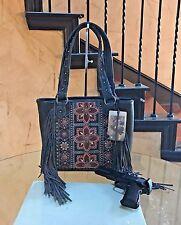 Montana West® Embroidery Floral Leather Fringes Concealed Carry Shoulder Handbag