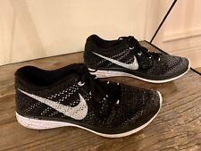 Nike Womens Flyknit Lunar3 Sneakers Black/White-Midnight Fog Size 8
