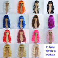 New Women Long Curly Wavy Cosplay Costume Party lady's wigs Harajuku Anime Style