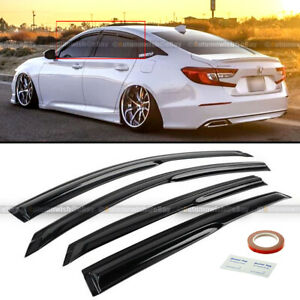 For 18-20 Accord JDM Aero Wavy Mugen Style 4 Pcs Tinted Window Visor Guard Vent