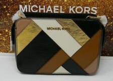 New Michael Kors Adele Black Multi Leather Gold Small Crossbody Purse $328