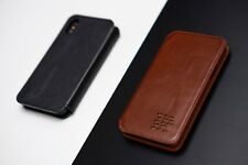 iPhone X & XS Leather Flip Case - Slim Real Leather Case - Free Personalisation