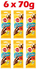 6 x PEDIGREE RODEO Dog Chewy Treats with Beef Omega3 Vitamins Minerals 70g 2.5oz