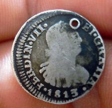 1813 FJ (CHILE) 1/2 REAL (SILVER) SANTIAGO MINT --- very scarce -------
