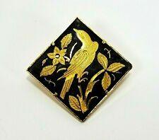 Vintage DAMASCENE Bird Brooch Pin Trombone Clasp Gold Foil