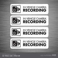 109 CCTV-Set di 4 in Veicolo Auto Telecamera Registrazione Adesivo Segno-CCTV-Dashcam