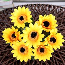 7 Heads  Artificial Fake Silk Sunflower Wedding Party Bridal Bouquet Home Decor