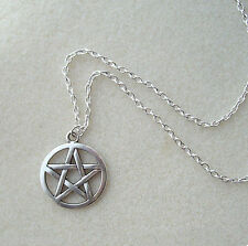 "Big Silver Pentagram Star Pendant 21"" Chain Necklace - Wiccan Pagan Hippy Gothic"