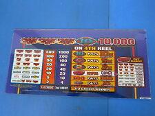 Bally Gaming Inc. Blazing Sevens Pay Out Chart Slot Machine Casino Glass