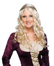 Womens Blonde Renaissance Wig Braid Crown Wavy Long Curly Braided Hair Adult