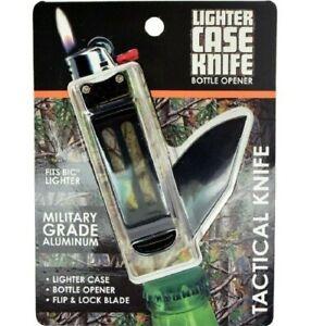 Lighter Case Knife Bottle Opener/Tactical knife For BIC Lighter - Black