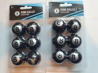 2 - 6 Packs - Black 8 Ball Novelty Ping Pong Balls - Beer Pong - 12 Balls