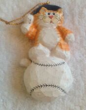 Eddie Walker Perjinkities Cat On Baseball Ornament By Midwest Of Cannon Falls