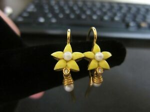 18K gold, pearls, diamond ,enamel flower, leverback earrings, small dangle