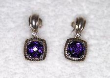 Charles Krypell Amethyst Diamond Earrings 14kt & White Gold Plated Silver $2440
