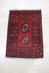 Genuine Afghan Aqcha - Hand Knotted Red & Black Bokhara Wool Small Rug  47x65 cm