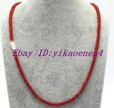"Rare Natural 2x4mm Rondelle Red Coral Gemstone Beads Necklace 18""AAA"