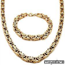 9mm BIZANTINO COLLAR + Pulsera Cadena Collar Acero Oro Collar