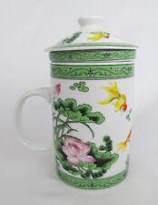Asian Porcelain Koi Fish Lotus Tea Cup Mug w/ Lid & Removable Infuser Strainer