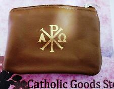 Chi Rho - Brown Genuine Sheepskin Leather Rosary or Chaplet Pouch with Lining
