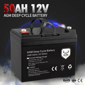 MOBI 50AH 12V AGM Battery Deep Cycle Mobility Scooter Golf Cart Camping Volt
