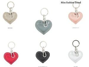 Ladies Metallic Leather Heart KeyRing New