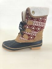 Khombu Womens Plaid All Weather Boots  Sz7 With Leather