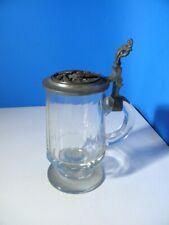 Antiker Bierkrug Jagd Glaskrug mit Zinndeckel * P. Schultz Auerhahn Balz 1879 *