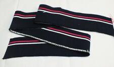 2 Stck. Fertigbündchen Strickbündchen dunkelblau pink weiß gestreift Cuff 100cm