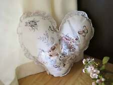 England Rose Butterfly Embroidery Heart Shape Frill Cotton Cushion + Insert Clea