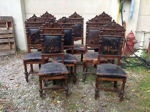 Antique,large horner 1890's carved diineing chair set,eight chairs! Griffins,