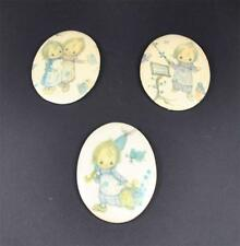Vintage 3 Oval Girl Wall Decor Friend Letter Music Umbrella Flower Round Face
