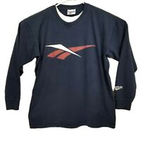 Vintage REEBOK Logo Long Sleeve T Shirt Navy Size XL EUC