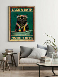 Black Cat Poster-Take A Bath You Dirty Hippie- Love Donkey poster- Funny Animals
