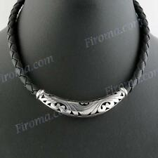 "18"" BLACK LEATHER ETHNIC BALI HANDMADE 925 STERLING SILVER necklace"