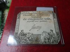 1792 France 50 Sols Note