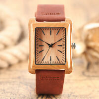 Novel Bamboo Nature Wood Brown Genuine Leather Band Women Men Sport Wrist Watch