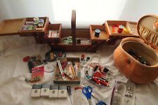 Sewing Supplies Lot, Thread, Totes, Scissors, Buttons, Tape & More