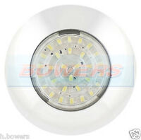 12V SMD LED WHITE ROUND WATERPROOF INTERIOR / EXTERIOR LIGHT LAMP CARAVAN/MARINE