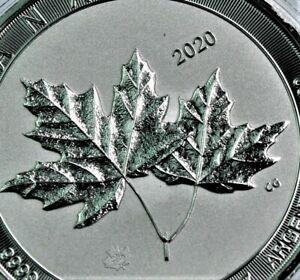 Scarce 2020 2 oz .9999 silver Canadian Twin Maple Leaf coin BU in capsule