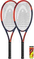 2 x HEAD Ti Reward Tennis Rackets Plus Protective Covers & 3 Tennis Balls
