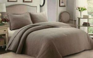 100%Cotton 3Pcs King Size Quilt Set  Bedding Coverlet solid  bronze