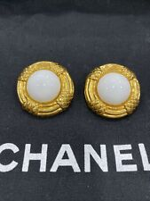 Authentic CHANEL Gold Clip On Earrings