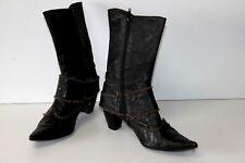 MURATTI Bottines Boots Pointues Cuir Fripé Petits Talons T 37 TBE