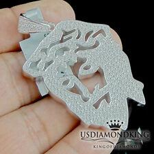 Men's Solid Silver 10k White Gold Finish Jesus Face Head Charm Pendant 26 Grams