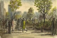 Harold Hope Read, Elegant 1920s Figures in the Park – 1920s watercolour painting